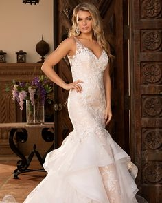 Casabanca 2391 Jullian Classic floral Lace With Layered Skirt Mermaid Wedding Dress Mori Lee Wedding Dress, Custom Wedding Dress, Wedding Gowns, Mori Lee Bridal, Casablanca Bridal Gowns, Wedding Dress Pictures, Bridal And Formal, The Blushed Nudes, Wedding Dress Shopping