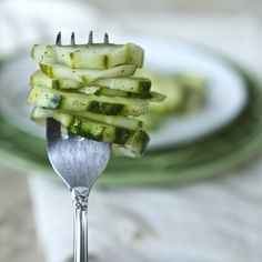 dilled cucumbers - not as dill-y as a dill pickle, and not as sweet as a sweet pickle... somewhere in the middle :)