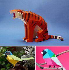 Animales impresionantes de papel hechos por estudio Guardabosques. Los colores y las texturas de estas manualidades están increíbles.
