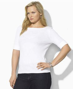 Lauren by Ralph Lauren Plus Size Top, Benny Short Sleeve Boatneck - Plus Size Tops - Plus Sizes - Macy's