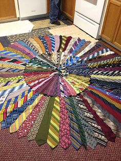 Necktie Rug-this would make a great Christmas tree skirt