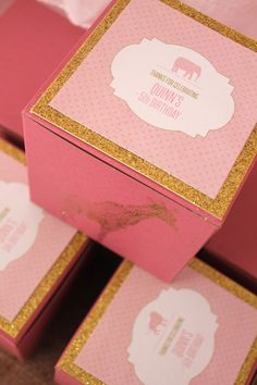 Pink and Gold Glam Safari Birthday Party Favor Box