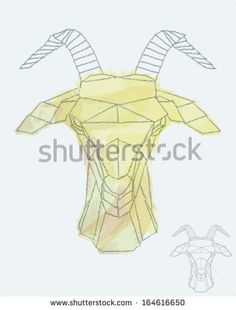 Goat depiction in geometric style, watercolor underneath - stock vector