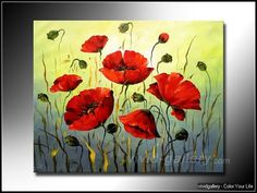 Famous Poppy Paintings | Poppies Fowlers 104 - Poppy Flower Oil Paintings - vivid-gallery.com