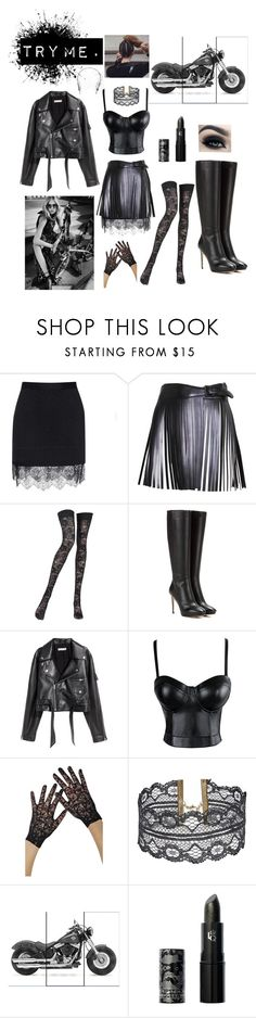 """Big black boots. Long brown hair."" by carmellascreations ❤ liked on Polyvore featuring Carven, Alaïa, Pierre Mantoux, Jimmy Choo, SKINN, Steve Madden, Lipstick Queen, Jennifer Behr, Too Faced Cosmetics and Burton"