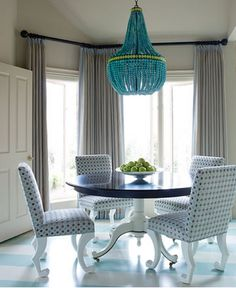 Blue chandelier with gray decor