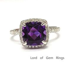 Cushion Amethyst Engagement Ring Pave Diamond Wedding 14K White Gold,8mm - Lord of Gem Rings - 1