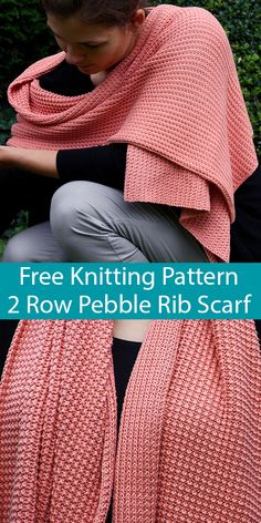 Free Knitting Pattern for Easy 2 Row Repeat Pebble Rib Scarf - Knitting pattern. : Free Knitting Pattern for Easy 2 Row Repeat Pebble Rib Scarf – Knitting pattern – Easy Scarf Knitting Patterns, Baby Sweater Knitting Pattern, Loom Knitting, Knitting Stitches, Free Knitting, Simple Knitting Projects, Knit Wrap Pattern, Knitting Scarves, Knitting Tutorials