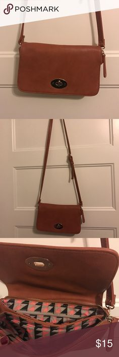 """Faux leather crossbody bag 10""""x6"""" Only used a couple of times! Like new! Bought from a boutique store. Adjustable strap and double pockets inside. Nice cognac color Bags Crossbody Bags"""
