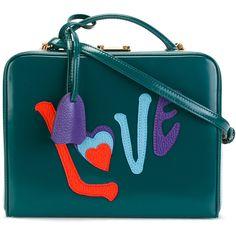 Mark Cross LOVE appliqué shoulder bag (59,850 MXN) ❤ liked on Polyvore featuring bags, handbags, shoulder bags, green, blue purse, multi color purse, blue shoulder bag, mark cross purse and blue shoulder handbags