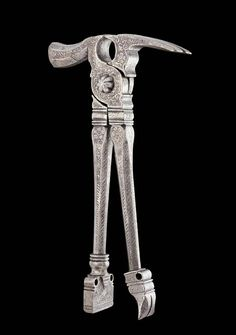 Multi tool, 1580. Iron with etched decorations. Nuremberg, Germany. Can be used as pliers, hammer, nail-puller or mini anvil. Via Koller auctions. Before industrialization the tool was of key importance to the craftsman. Beauty was partly due to its function and partly to the quality of its design. It also reflected a professional pride, the tool as a status symbol and sign of belonging. For this reason tools were often masterfully decorated.