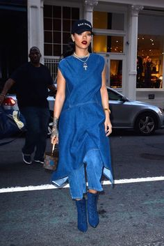 Rihanna goes out in NYC wearing Balenciaga Denim Asymmetrical Dress and Manolo Blahnik boots