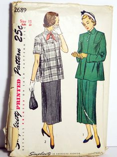 1949 Simplicity 2689 Maternity Suit