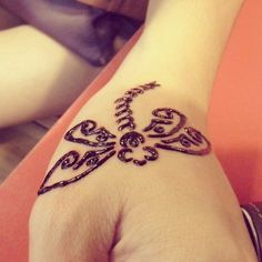 Cute Butterfly Henna Tattoo for Hand