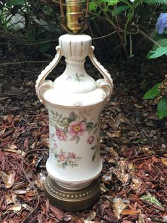 Beautiful Ceramic Vintage Table Lamp With A Pink Floral Print Across The  Front And Back With