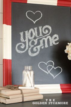 swiss flag inspired chalkboard, chalk paint, chalkboard paint, crafts, A little paint and a chalkboard goes a long way Swiss Flag, Framed Chalkboard, Valentine's Day Diy, Love Painting, Cool Diy Projects, Valentines Diy, Neon Signs, Crafty, Creative