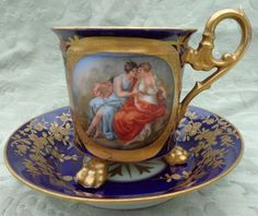 Antique Vienna Royal Blue Porcelain Tripod Cabinet Cup Saucer HP Gilded 19th C