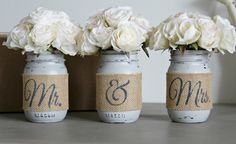 Set of 3 decorative Mason Jars in Old white or Paris Grey with Dark Graphite Letters. Each jar is hand painted & distressed, decorated with natural burlap. This set is perfect for bridal shower, engag