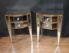 Photo of Pair Deco Mirror Nightstands Bedside Tables Chests Cabinets Mirrored Mirror Bedside Table, Ikea Mirror, Mirrored Nightstand, Mirrored Furniture, Dresser With Mirror, Nightstands, Mirrored Bedroom, Home Goods Mirrors, Natural Mirrors