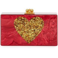 Edie Parker Jean Heart Box Clutch Bag (€1.095) ❤ liked on Polyvore featuring bags, handbags, clutches, red, acrylic box clutch, kiss-lock handbags, red box clutch, heart purse and red purse