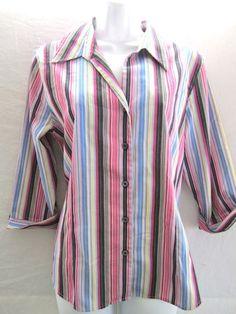 Sz 8 Foxcroft Shirt Shaped Fit Cotton Blend Wrinkle Free 3 4 Slvs Striped Career | eBay