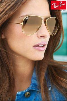 Ray Ban Gold Gradient Brown Lenses Aviator Sunglasses - Styling tips - Cheap Ray Ban Sunglasses, Sunglasses Outlet, Gold Sunglasses, Mirrored Sunglasses, Sunglasses Women, Ray Ban Mujer, Discount Ray Bans, Ray Ban Outlet, Womens Glasses