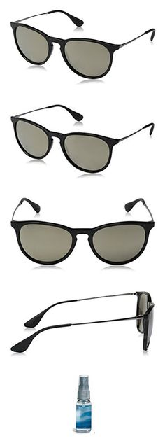 59ba52c7e2 Amazon.com  Ray-Ban Erika RB4171 Sunglasses Black   Light Brown Mirror Gold  54mm   Cleaning Kit Bundle  Clothing