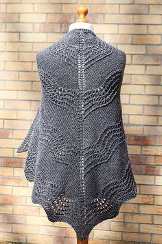Free Pattern: Old Shale Shawl by Amanda Clark. Triangular shawl, worked in one piece, from the top down.