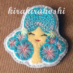 Handmade EMBROIDERED GIRL with Turquoise Hair by kirakirahoshi, $14.80