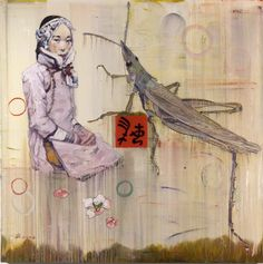 Hung Liu was one of my painting teachers at University of North Texas.  When she was in China she was a propaganda artist for the government before defecting. Fantastic artist!