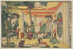 Katsushika Hokusai: Newly Published Perspective Picture: One Hundred Ghost Stories in a Haunted House (Shinpan uki-e bakemono yashiki hyaku monogatari no zu) - Museum of Fine Arts