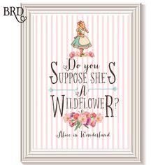 Alice in Wonderland Wildflower Sign by BradfordRoadDesigns on Etsy