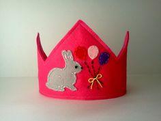 Pink Felt Crown Bunny Easter Spring Birthday