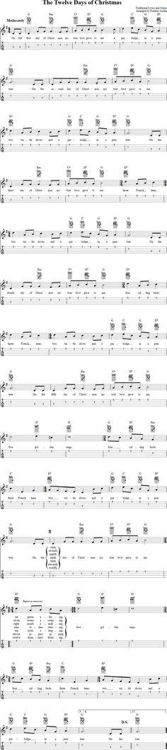 Free ukulele sheet music for The Twelve Days of Christmas with chord diagrams, lyrics, and tablature. Ukulele Tabs Songs, Ukulele Fingerpicking Songs, Cool Ukulele, Music Tabs, Ukelele, Guitar Tabs, Guitar Songs, Christmas Ukulele Songs, Xmas Songs