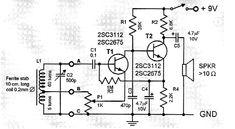 two transistor AM radio receiver circuit schematic
