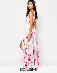 Fame and Partners Ashleigh Maxi Dress With Open Back And Side Splits