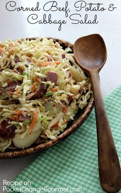 Corned Beef, Potato & Cabbage Salad :: Perfect for St. Patrick's Dinner or use up leftover Corned Beef :: Recipe on PocketChangeGourmet.com