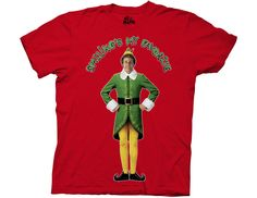 Ripple Junction Elf Smiling's My Favorite Adult T-Shirt Medium Red
