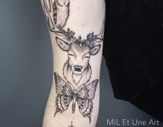 Butterfly deer and sleepy owl tattoo