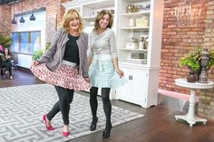 Sarah Richardson & Marilyn Denis Sarah Richardson, Home Technology, Cooking Gadgets, Booth Design, Photography Portfolio, Home Repair, Leather Skirt, Apron, Dinner Ware