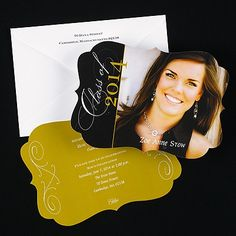 "Classy Scrolls Graduation Announcement Classy scrolls are shown along with your photo on this two-sided announcement.  Dimensions: 7 1/4 x 5 1/8"" Card• Price Includes: Blank, single bright white envelopes • Production Time: 3 Working Days • Photo(s) will be printed as submitted • Layout available only as shown"