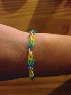 My rubber band bracelet I made without the rainbow loom :)