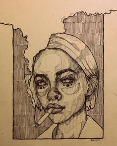 Art Sketches Ideas - Mohamed Badawy on she smelled of cigarettes a. Arte Sketchbook, Art Drawings Sketches, Sketch Drawing, Contour Drawings, Music Drawings, Anime Sketch, Tattoo Sketches, Tattoo Drawings, Tattoos