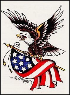 "Ed Hardy-Eagle w/American Flag Temporaray Tattoo by Tattoo Fun. $4.95. This 3 1/2"" x 2 1/2"" Ed Hardy temporary tattoo has a unique soaring eagle holding onto an American Flag."