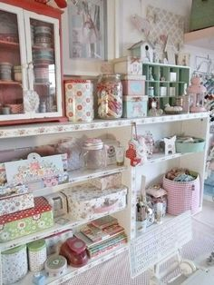 (Like the use of tin cans and paper boxes, but I would add labels to identify what's inside.) shabby studio