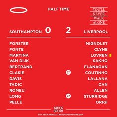 Half time and the reborn Liverpool are on a roll!  #Lfc #liverpool #ynwa #saintsfc #Southampton