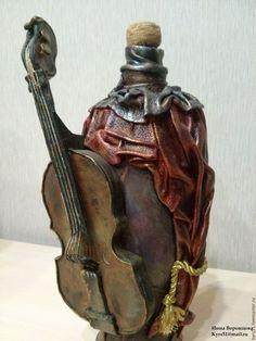 Купить музыка скрипки - фиолетовый, бутылка, скрипка, натуральная кожа, Декупаж, музыкальные инструменты