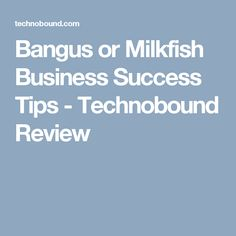 Bangus or Milkfish Business Success Tips - Technobound Review