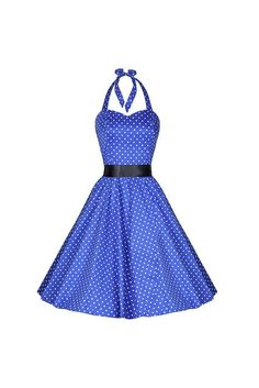 Blue and White Polka Dot Vintage 50s Swing Prom Pin-Up Dress