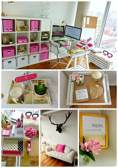 ♡NEW OFFICE Pink gold white office space and organization blog